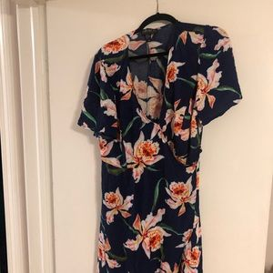 Forever 21 navy and floral wrap dress